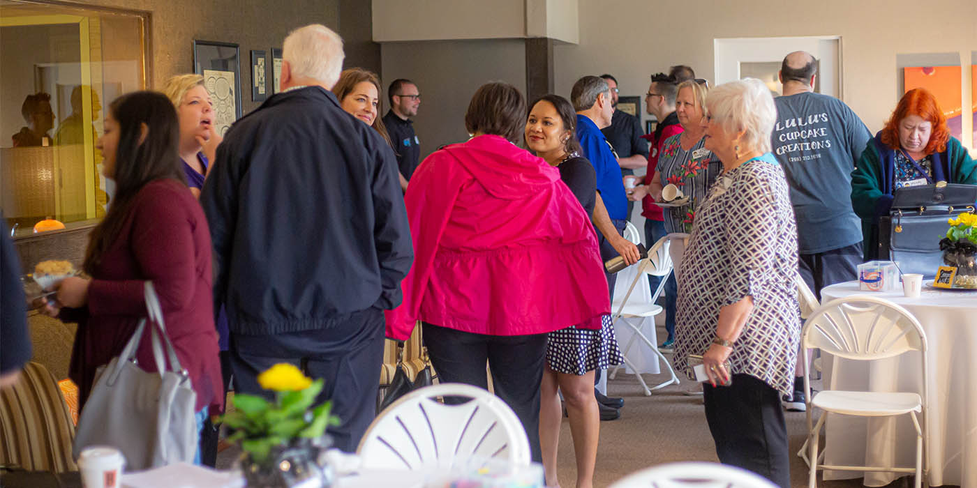 people networking at whfb event